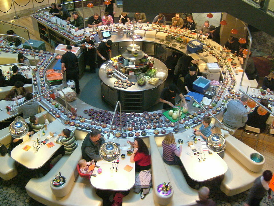 A massive sushi carousel in North Kent, England.