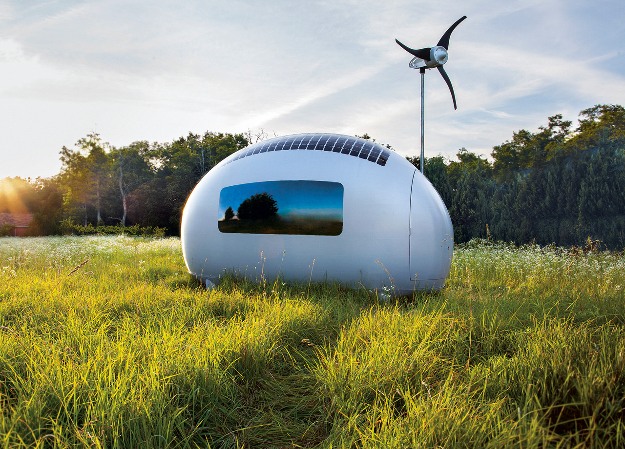 The Ecocapsule can accommodate two people and runs on solar and wind power. (Nice Architects, Slovakia, 2008)