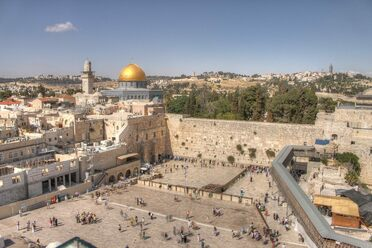 The Western Wall and Dome of the Rock in the old city of Jerusalem. The remnants of a Roman theater have been found beneath the Wall.