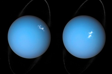 A composite image of auroras on Uranus, using images from Voyager 2 and the Hubble Space Telescope.