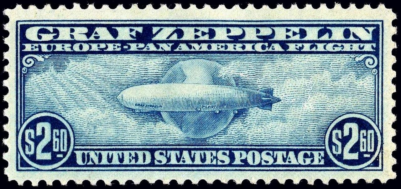 The rarest and most expensive of the 1930 Graf Zeppelin stamps.