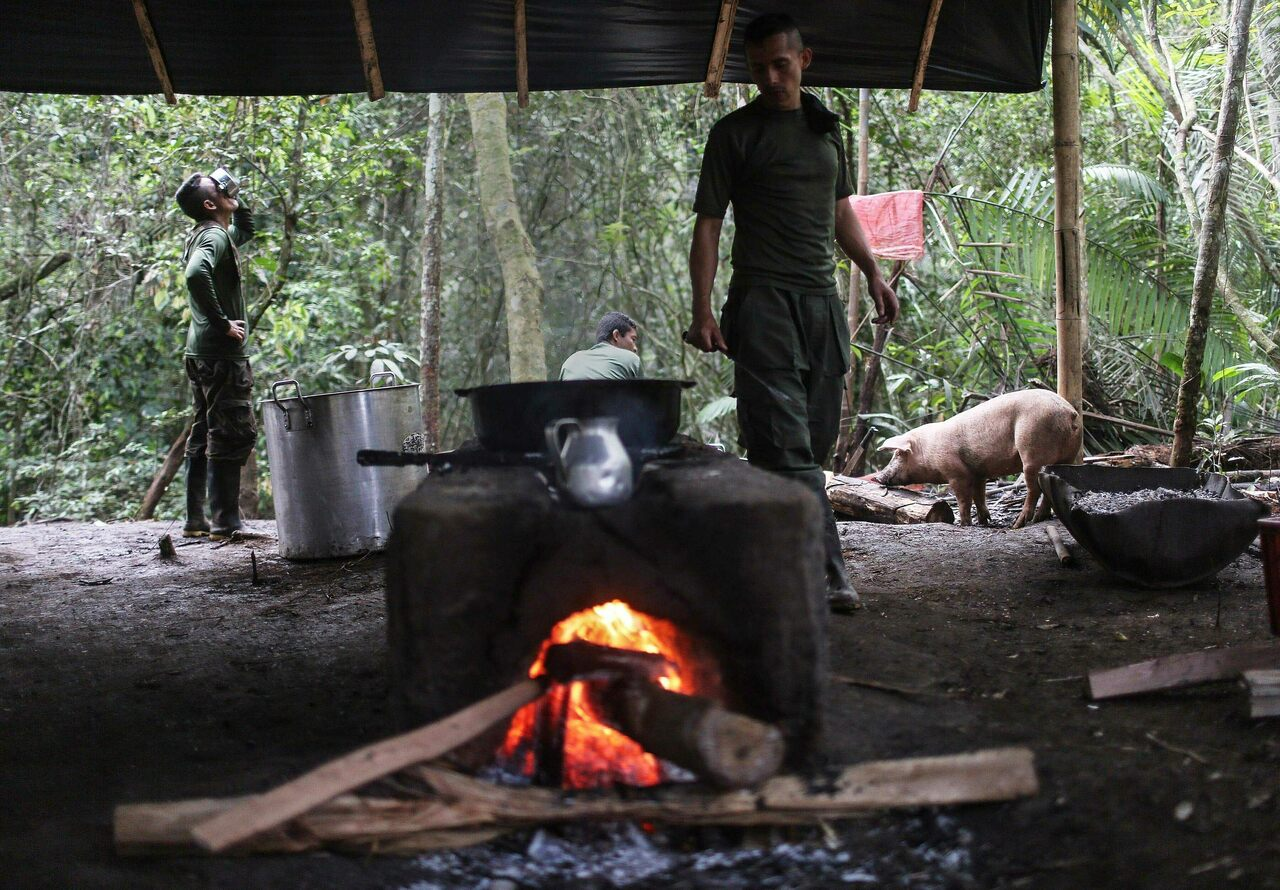 FARC rebels in their field kitchen during breakfast hours at the 10th Guerrilla Conference, where the peace accord was being ratified by on September 23, 2016.