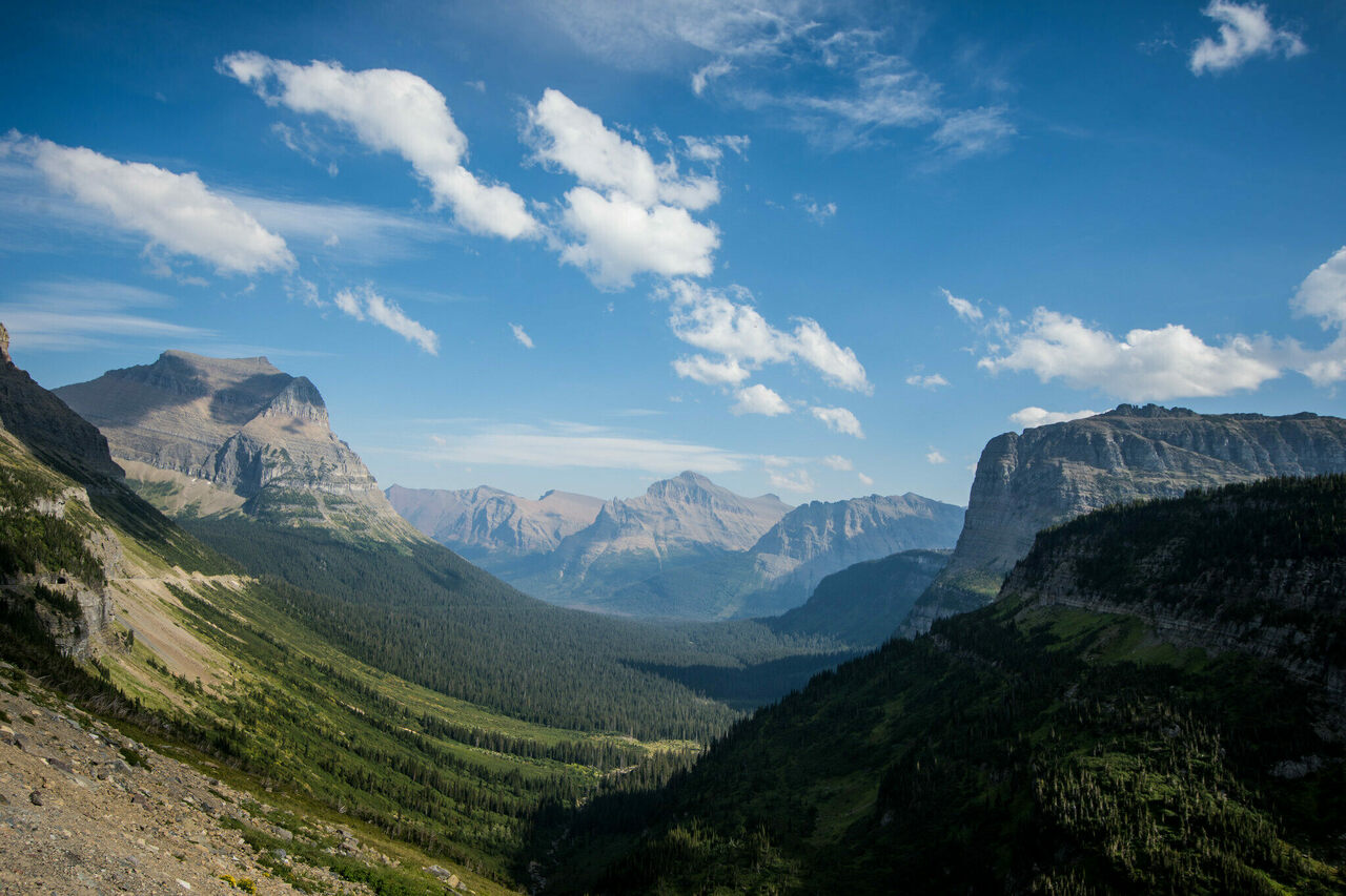 The view from Going-to-the-Sun Road in Glacier National Park, Montana.