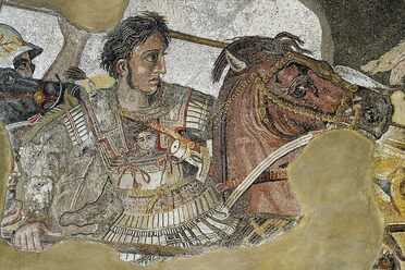 Alexander the Great, in battle with Darius III.