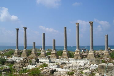 The ruins of Tyre are perilously close to the water.