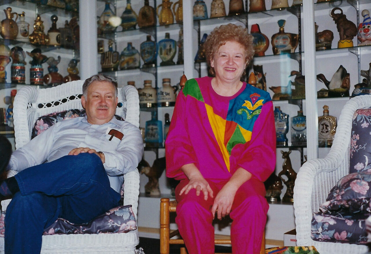 Charles and Betty at home with their collection.