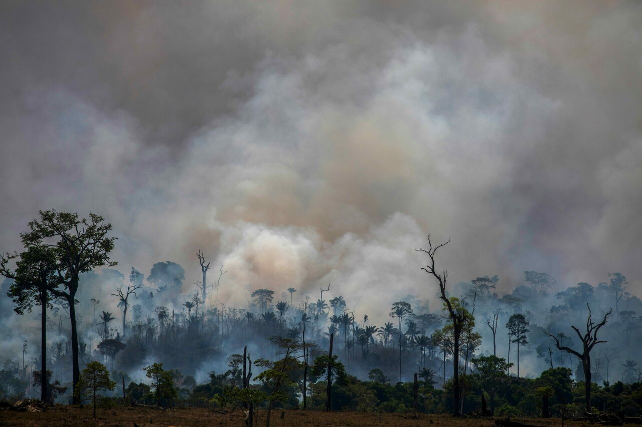 Fires are tearing through the Brazilian Amazon, including Altamira, pictured here on August 27, 2019.
