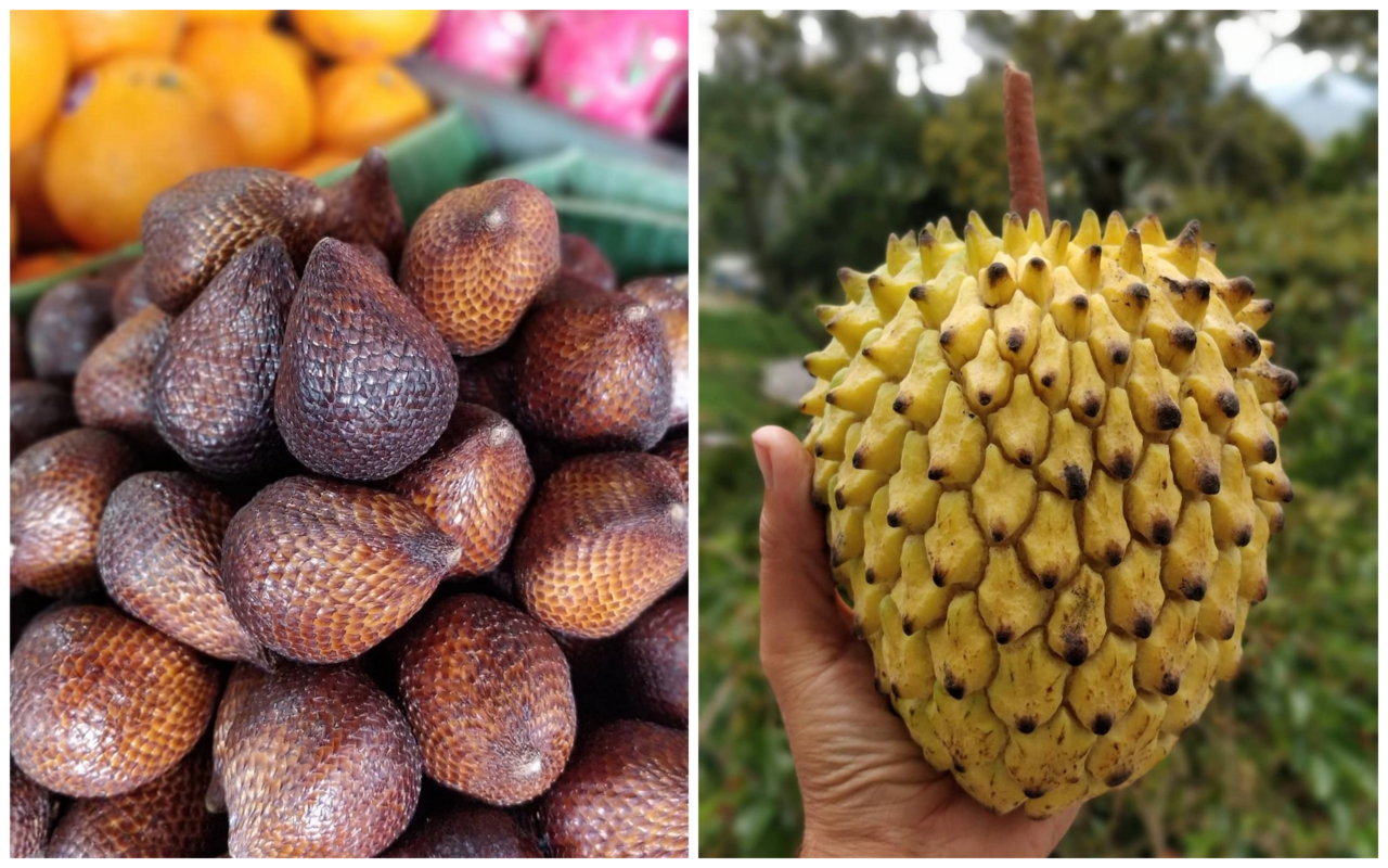 The serpent fruit, salak (left), and the lemon-meringue like rolinia deliciosa (right).
