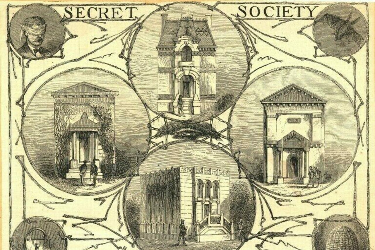 """Illustration by Miss Alice Heighes Donlevy of the """"Secret Society Buildings of New Haven,"""" with the former Skull & Bones headquarters at left center (circa 1869-1903)."""