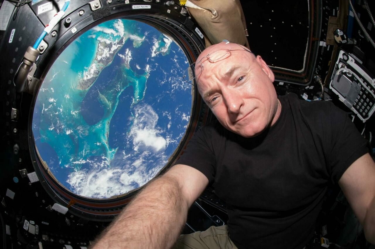 Astronaut Scott Kelly inside the Cupola, a special module in the International Space Station that provides a 360-degree view of Earth.