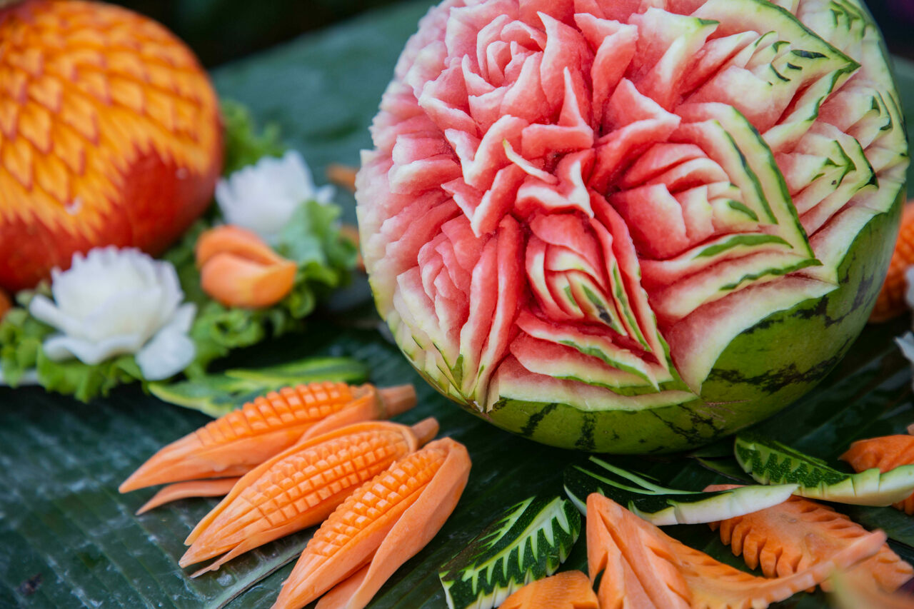 Carved fruit and vegetables were once a must for banquets and events.
