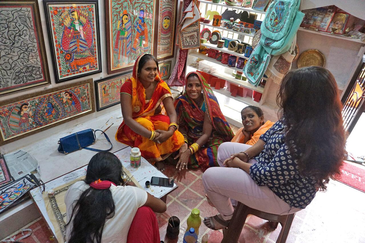 Artist Sunaina Thakur (far right) leads a painting workshop in Janakpur, Nepal.