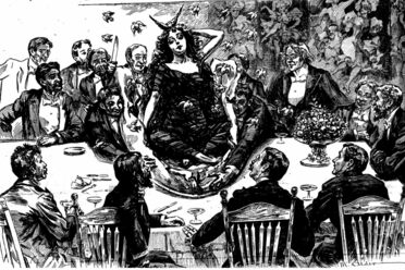 An illustration of the famous Pie-Girl Dinner from <em>The New York World</em>.