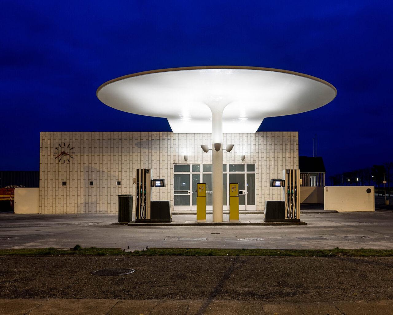 Arne Jacobsen's Skovshoved gas station, Copenhagen, Denmark.