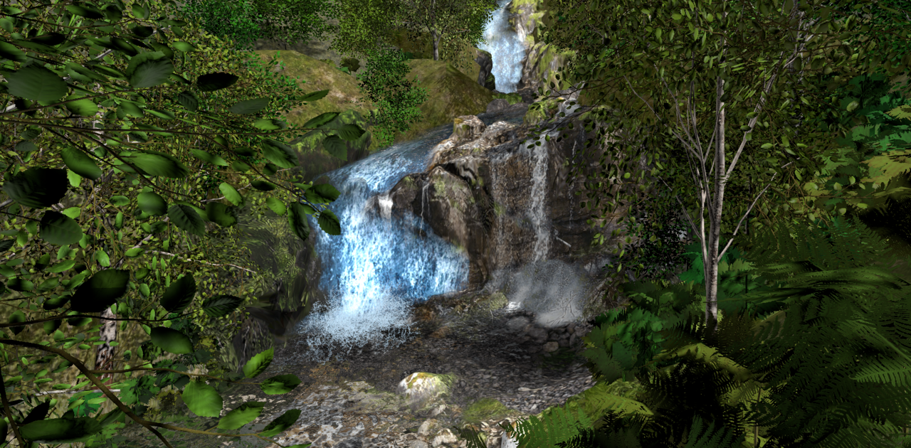 Waterfalls added life to a simulated Scottish landscape.