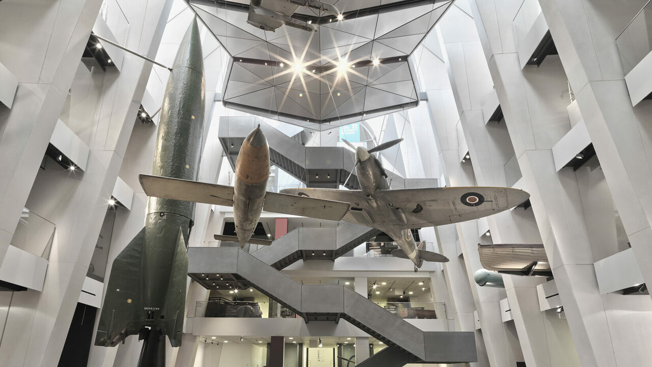 The V-2 rocket (left) in the atrium of the Imperial War Museum in London.