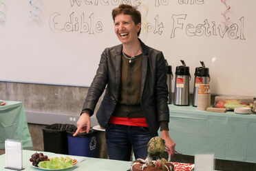 Rosalie Fanshel, of the Berkeley Food Institute, laughing about an edible book.