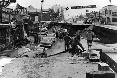 Fourth Avenue in Anchorage, Alaska, after a magnitude-9.2 earthquake in 1964. The earthquake was caused by the Aleutian Megathrust, a subduction zone.