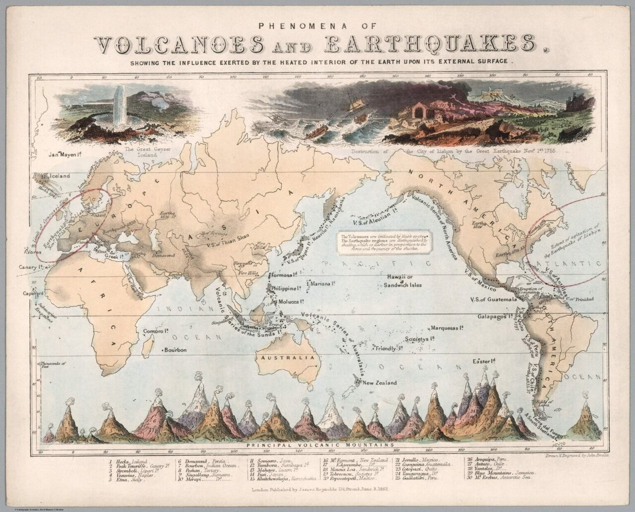 In this map, <em>Phenomena of Volcanoes and Earthquakes,</em> chartmakers John Emslie and James Reynolds show the distribution and heights of all the active volcanoes in the 1800s.