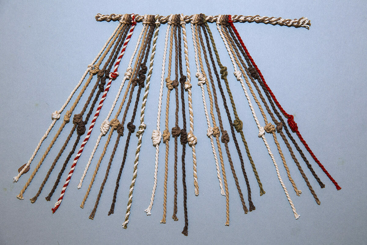 A model of khipu knots, representative of many khipus from pre- and post-Conquest Peru