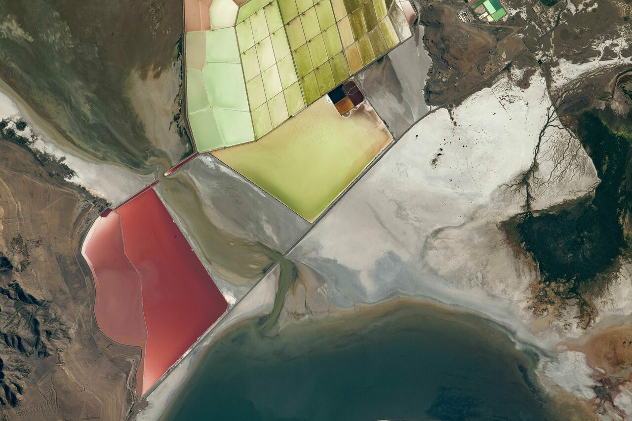 From high in the sky, the colors of the landscape are plainly visible.