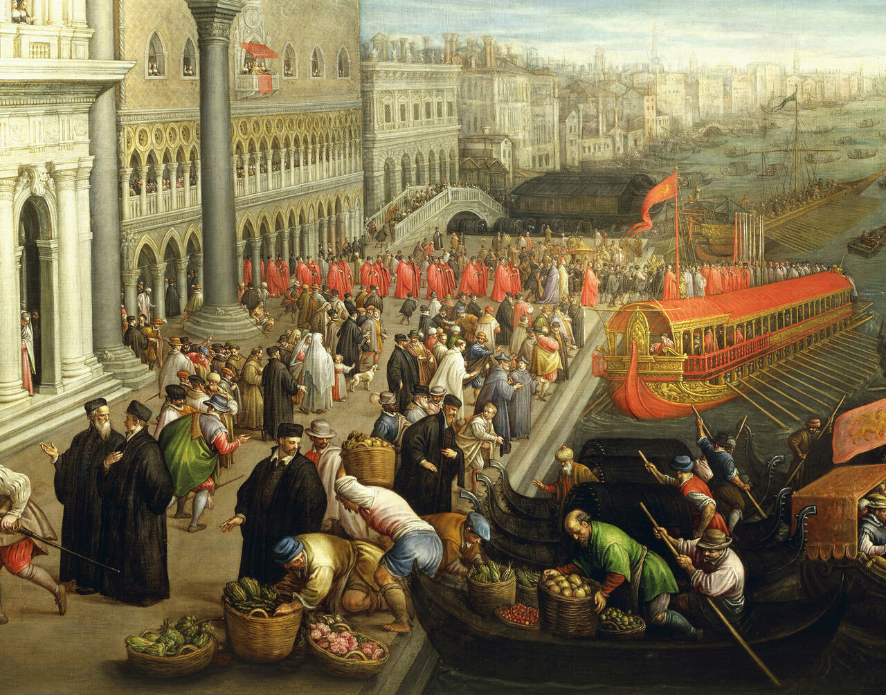 The banks of the Schiavoni in Venice, painted by artist Leandro Bassano (1557-1622).