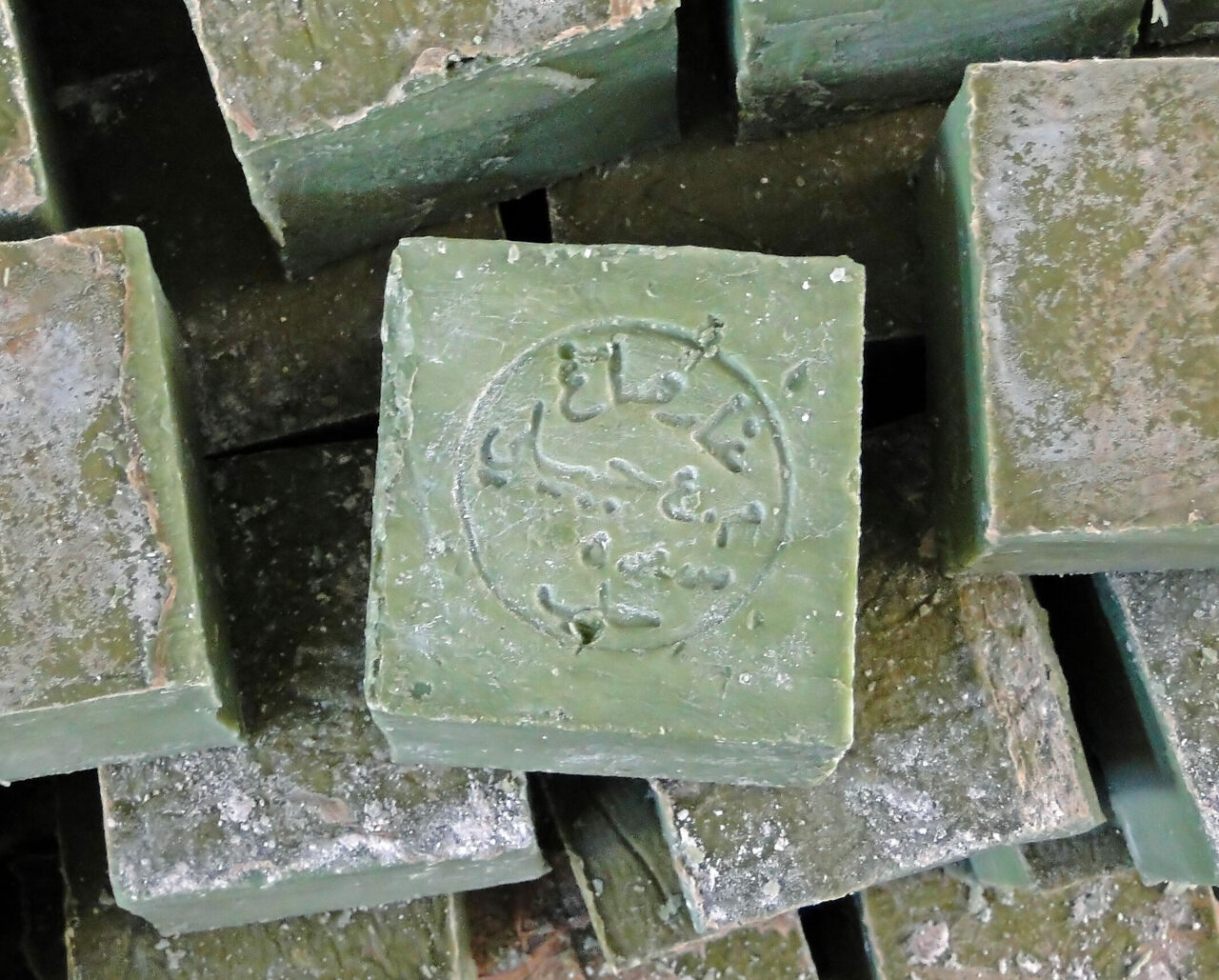 Accept no substitutes: Authentic Aleppo soap bears its maker's mark, and the Arabic name for the city of its origin.