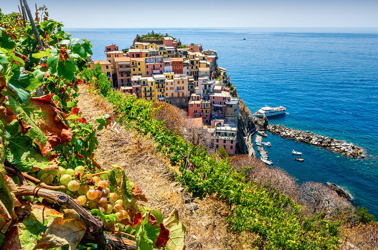 Overlooking the Ligurian Sea in northwestern Italy, the village of Manarola is flanked by terraced vineyards.