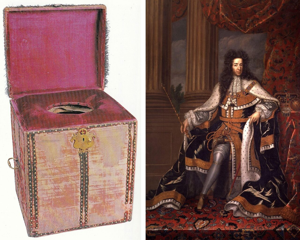 "King William III and his mid-17th century ""close stool,"" which is on display at Hampton Court."