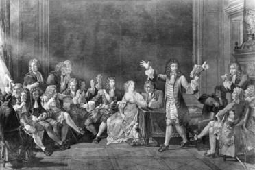 Parties where playwrights like Moliere read aloud were precursors to rowdy book clubs.