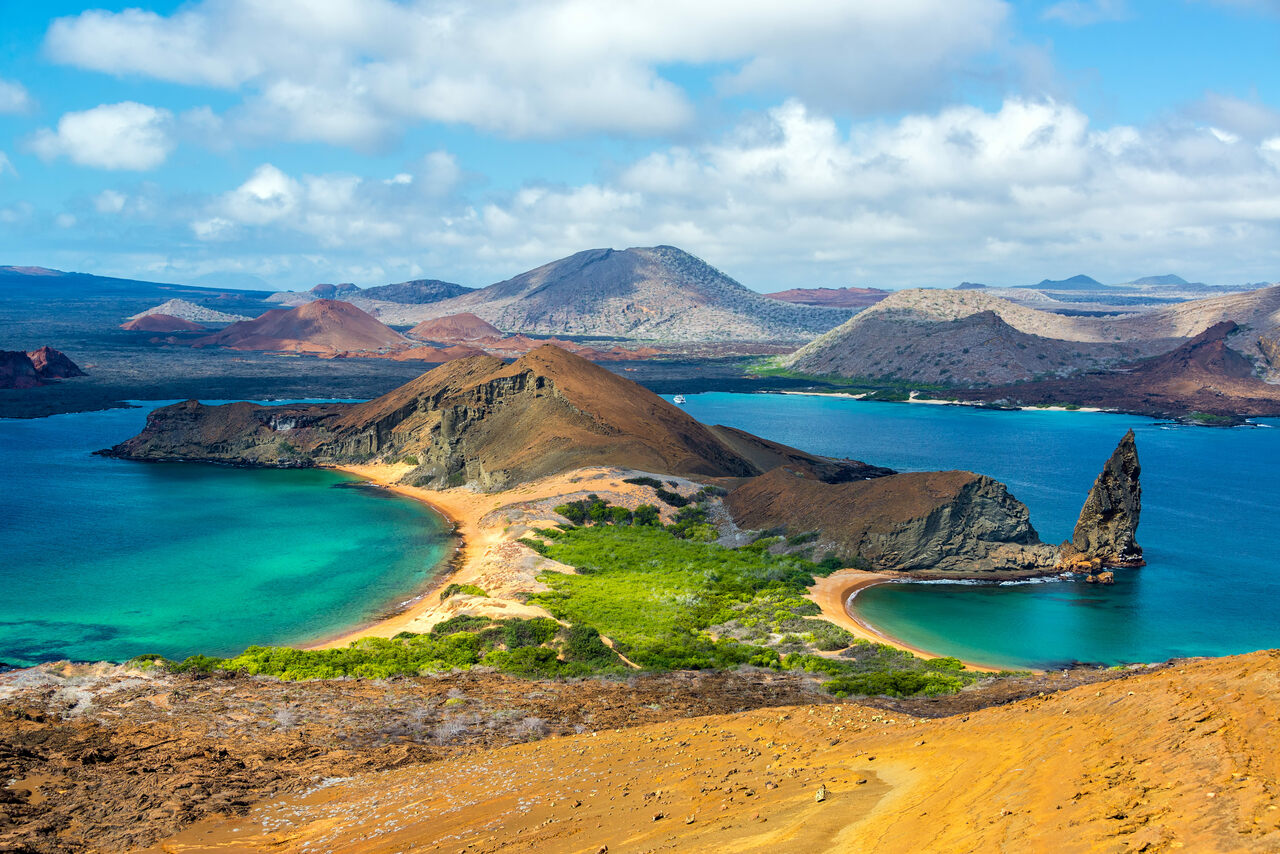 A scenic view of two beaches in the Galápagos.