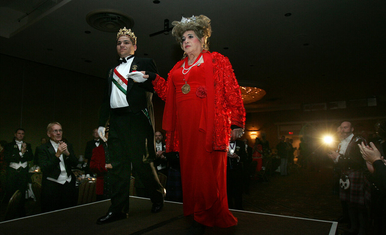José Sarria is escorted onstage at the 40th Anniversary Gala of the International Court System that he founded, 2005.