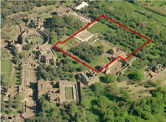 An aerial view of the villa and the area where researchers made the find.