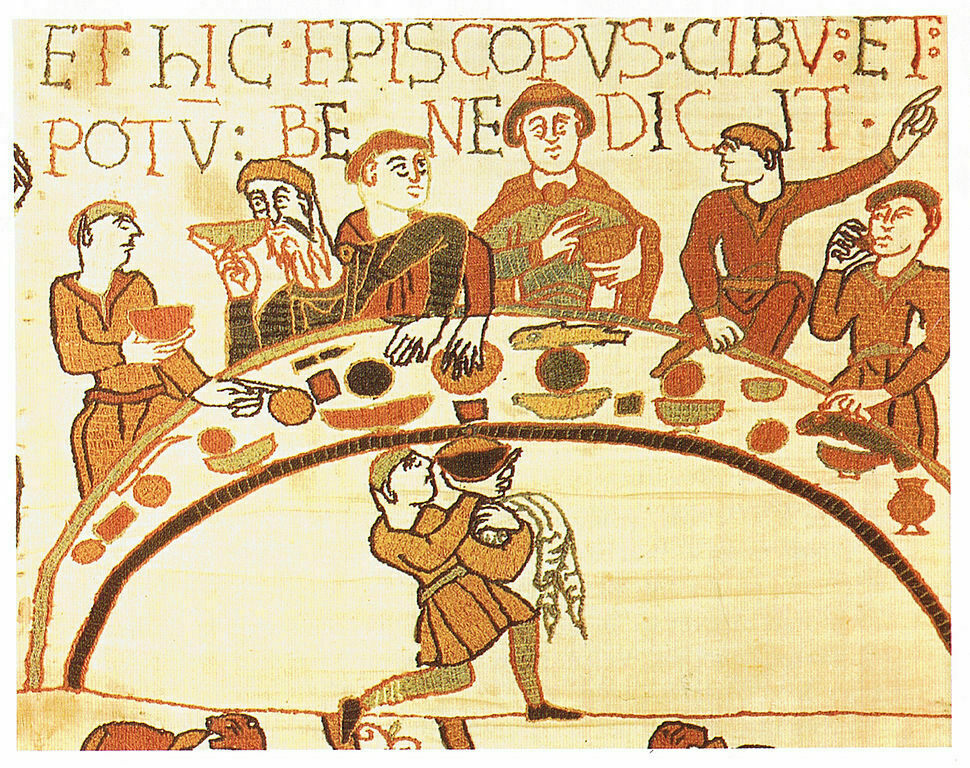 A kingly feast, from the Bayeux Tapestry.