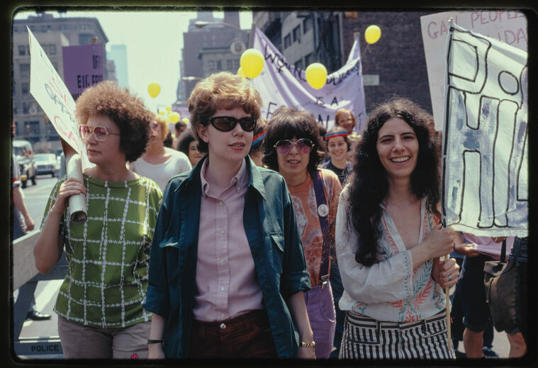 Women marching at Christopher Street Liberation Day, an early gay protest in New York City. June 20, 1971.