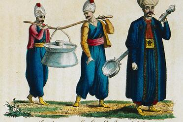 Janissaries carrying their <em>kazan, </em>along with a regimental ladle.