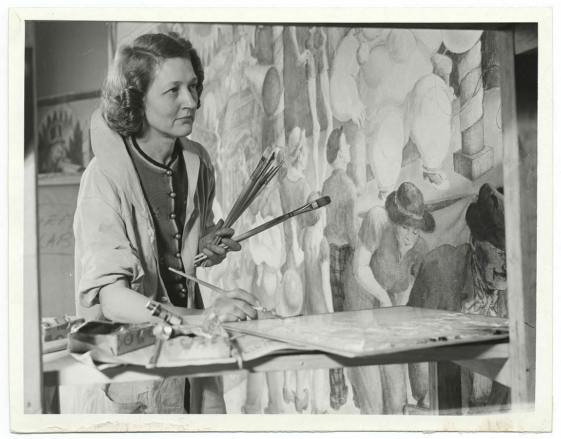Artist Elizabeth Deering at work on a mural in 1939 as part of the Federal Art Project.