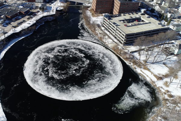 A Giant Ice Disk Has Formed on a River in Maine