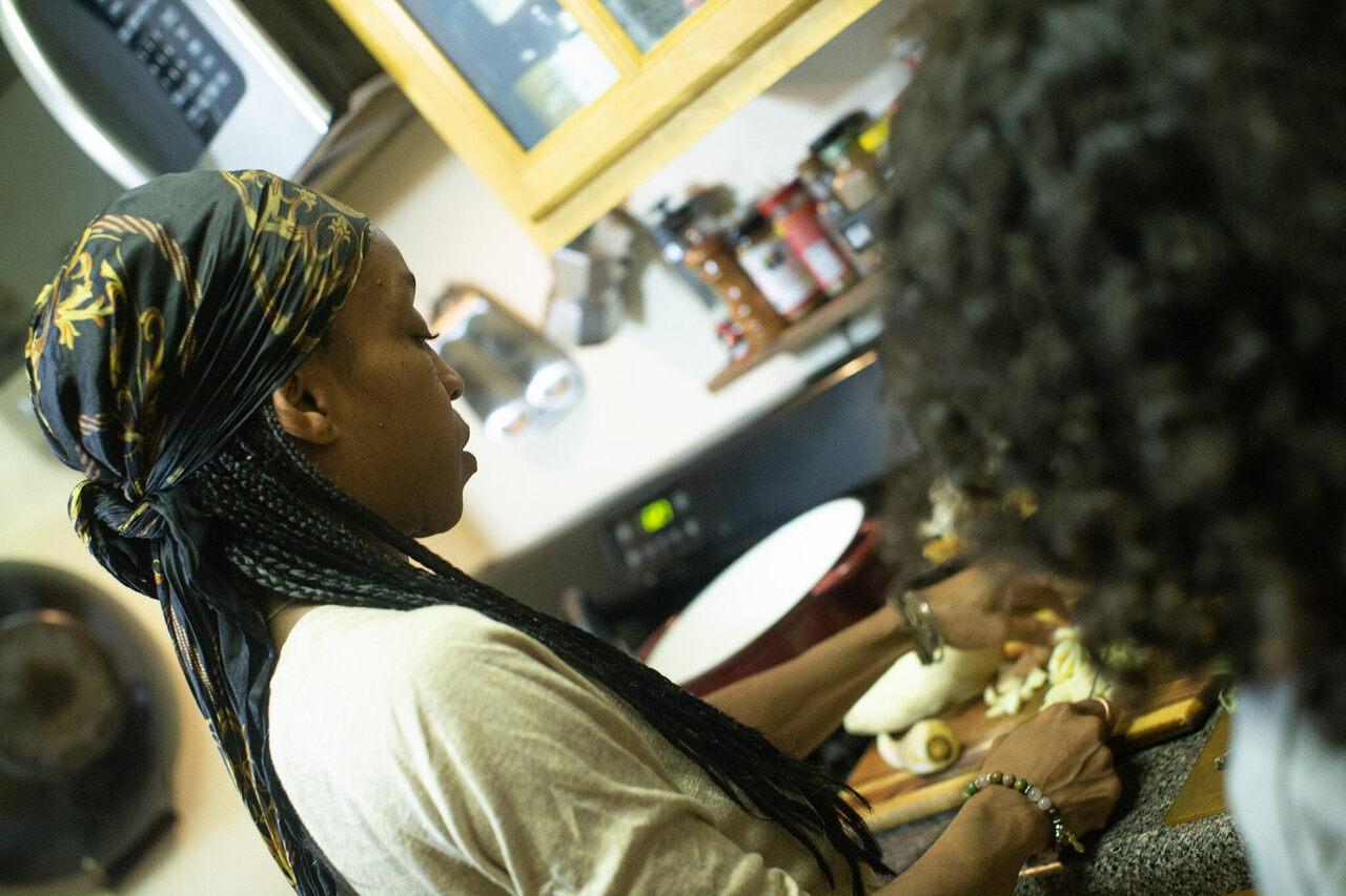 djassi daCosta johnson prepares food for loved ones.