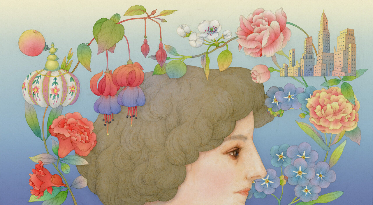 """An illustration of """"the woman with the most wonderful nose in the world,"""" Ann Haviland."""