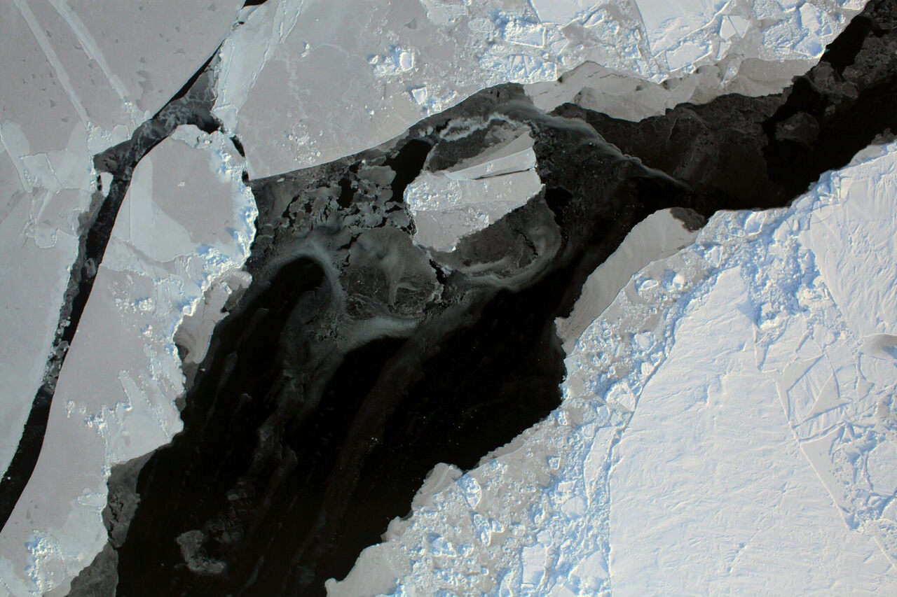 Cracks in Arctic sea ice shown in a satellite image, 2011.