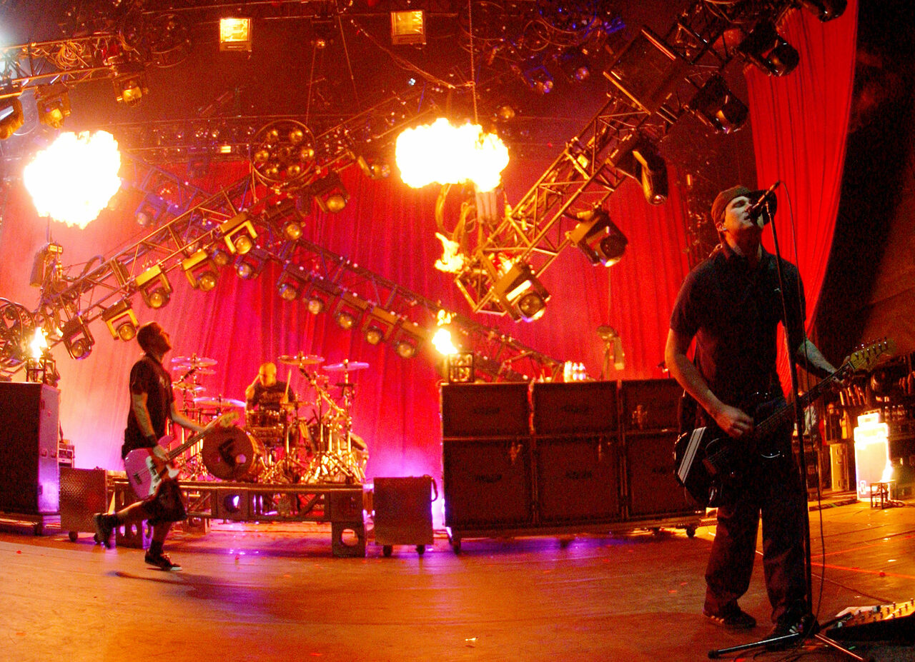 Blink 182 performing at the Shoreline Amphitheater in Mountain View Calif. on April 27th, 2002.