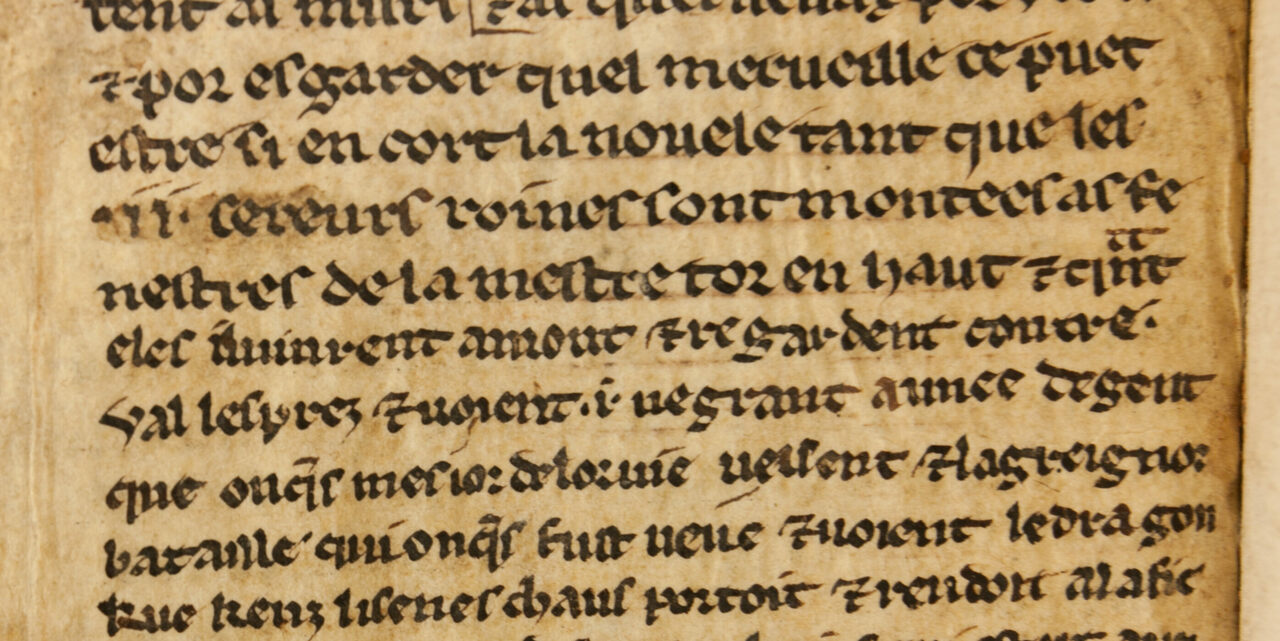 A close-up of the newly discovered folio fragments reveals the handwriting of two different scribes.