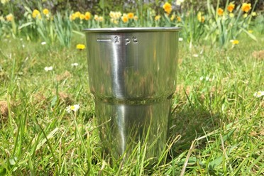 A Glastonbury Steel Cup, ready to rock.