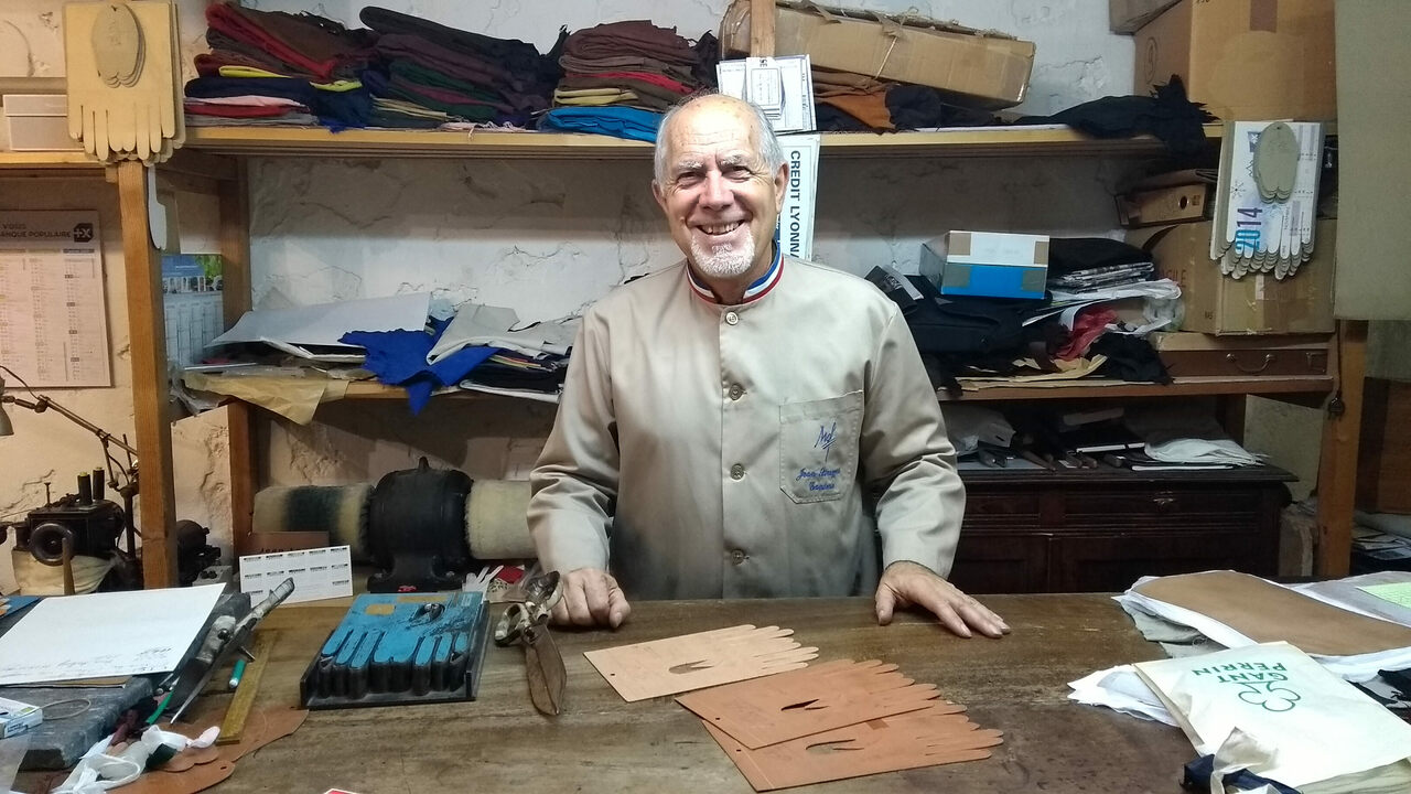 Jean Strazzeri, one of the last traditional glovemakers in France, pictured in his Grenoble workshop.