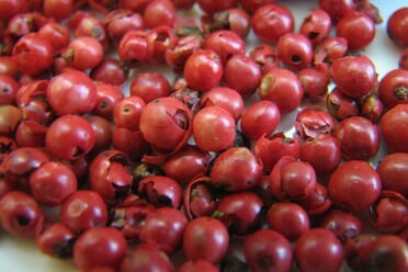 Pink peppercorns have a papery texture and mild taste.