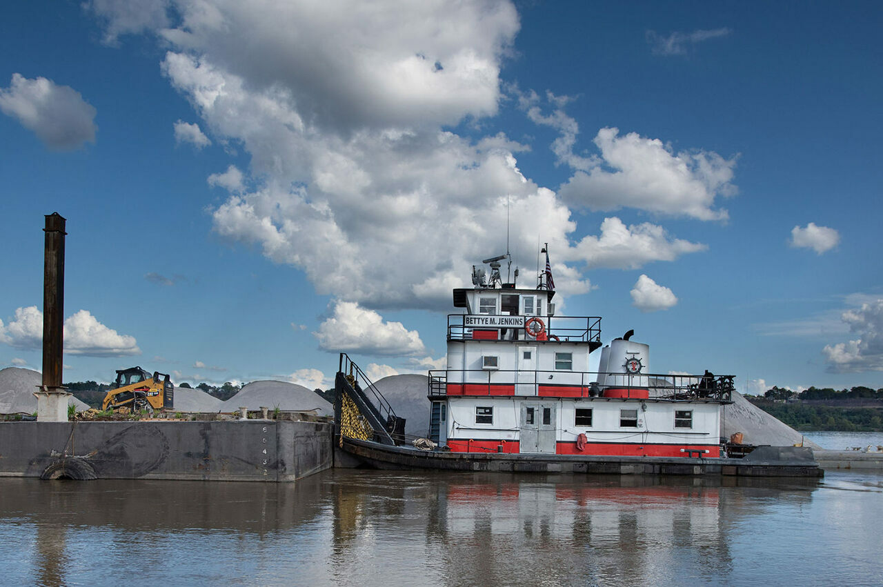"""One of Carla Jenkins's towboats, the """"Bettye M. Jenkins,"""" sits at her dock in Vidalia, Louisiana on Oct. 6, 2019. Jenkins's father, who built the boat, named it after Jenkins's mother."""