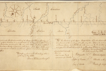 Tribal leaders signed this map showing the boundary between South Carolina and the Cherokee Indian Country, 1766.