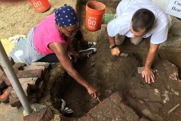 Excavation of the slave quarters at Belvoir.
