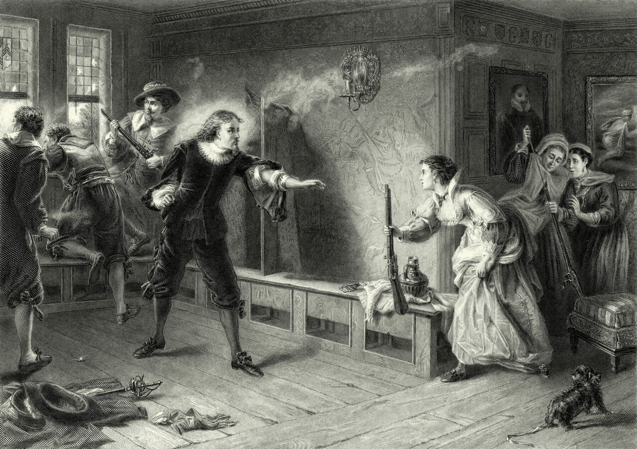 Vintage engraving of a scene from the English Civil War: Men shoot their muskets through a window while the women reload the guns.